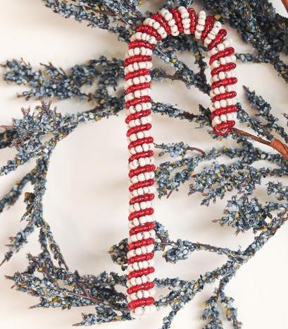 Beaded Candy Cane - Kenyan materials and design for a fair trade boutique