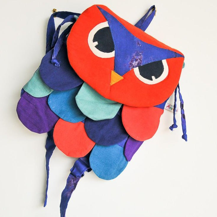 Owl Backpack - Kenyan materials and design for a fair trade boutique