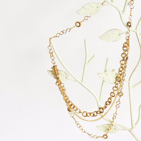 Triple Chain Brass Necklace