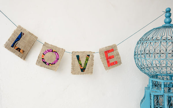 Love Letter Garland - Kenyan materials and design for a fair trade boutique