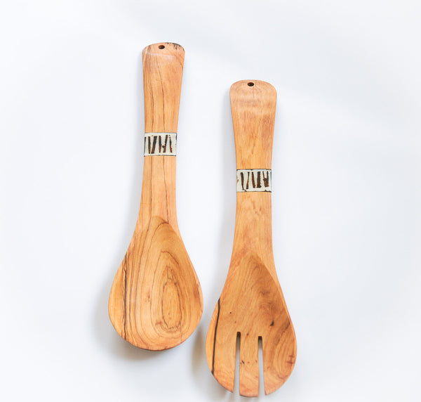 Olivewood & Bone Flat Spoon Set - Kenyan materials and design for a fair trade boutique