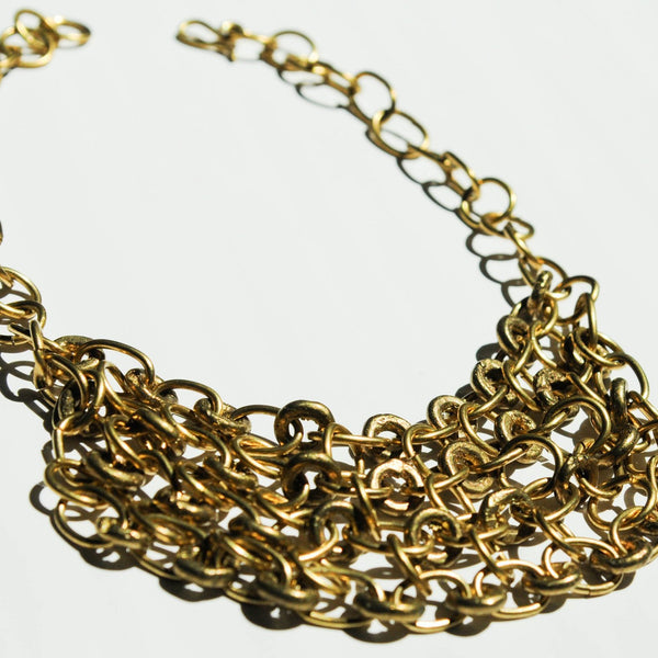 Brass Chain Collar Necklace - Kenyan materials and design for a fair trade boutique