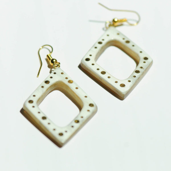 Studded Horn Earrings - Kenyan materials and design for a fair trade boutique