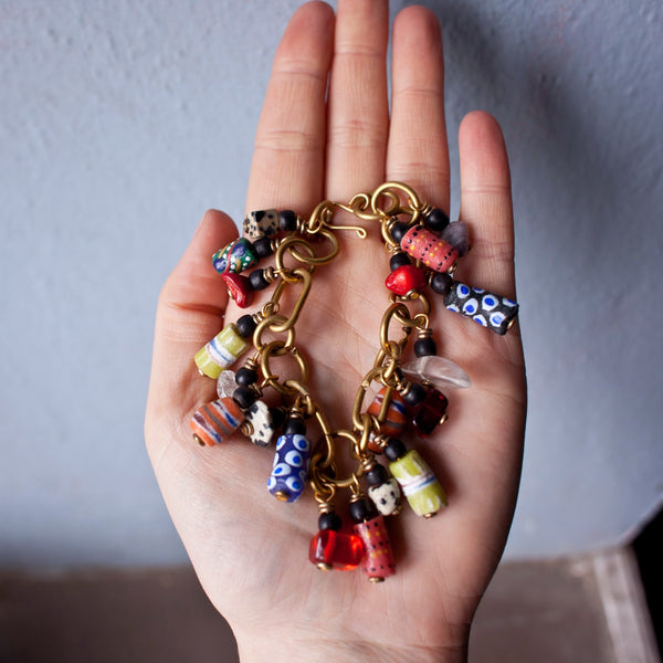 Trade Bead Brass Chain Bracelet