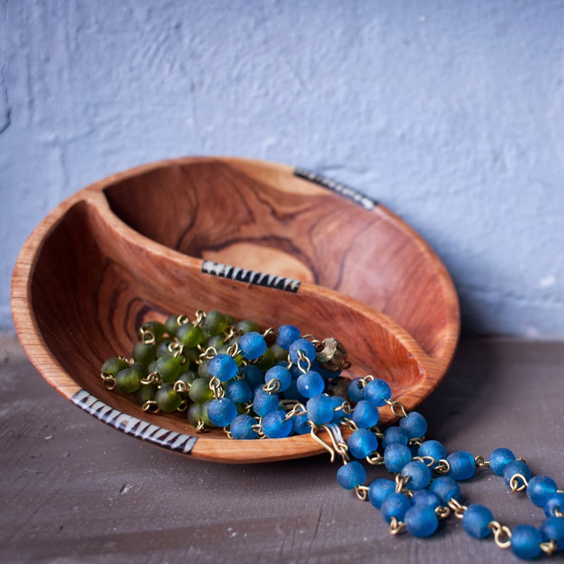 Divided Olivewood Bowl - Kenyan materials and design for a fair trade boutique