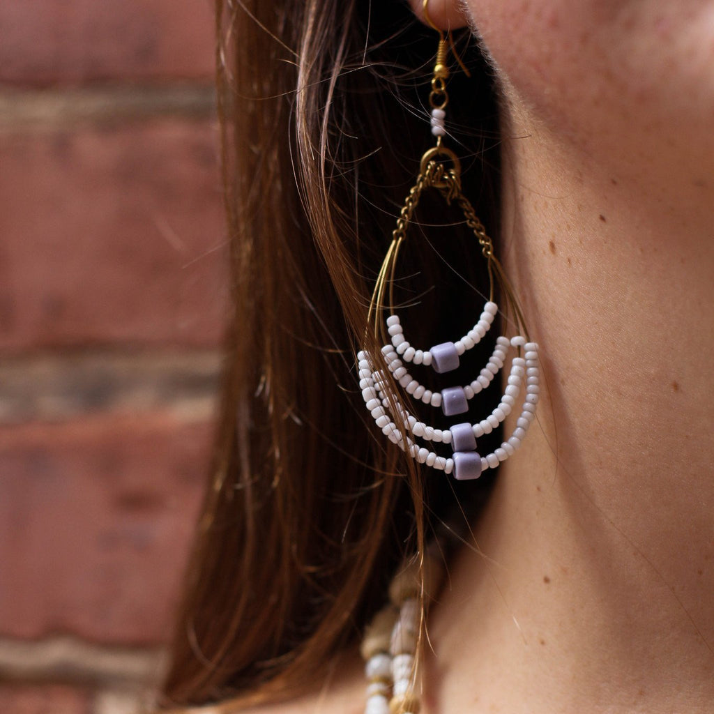 Beaded Maasai African Earrings - Kenyan materials and design for a fair trade boutique