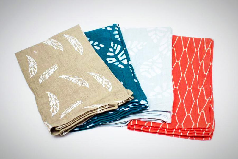 Sampler Napkin Set of 4 - Kenyan materials and design for a fair trade boutique