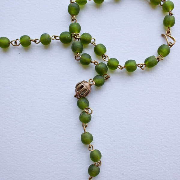 Bottle Bead Brass Strand - Kenyan materials and design for a fair trade boutique