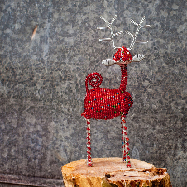 Beaded Reindeer - Kenyan materials and design for a fair trade boutique