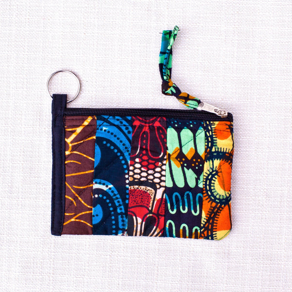 Strip Patch Coin Purse - Kenyan materials and design for a fair trade boutique