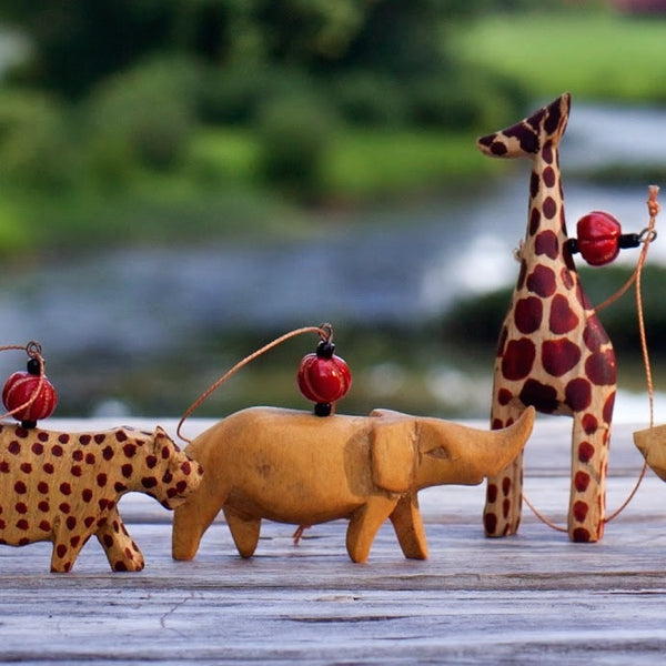 African Animal Ornament Set of 7