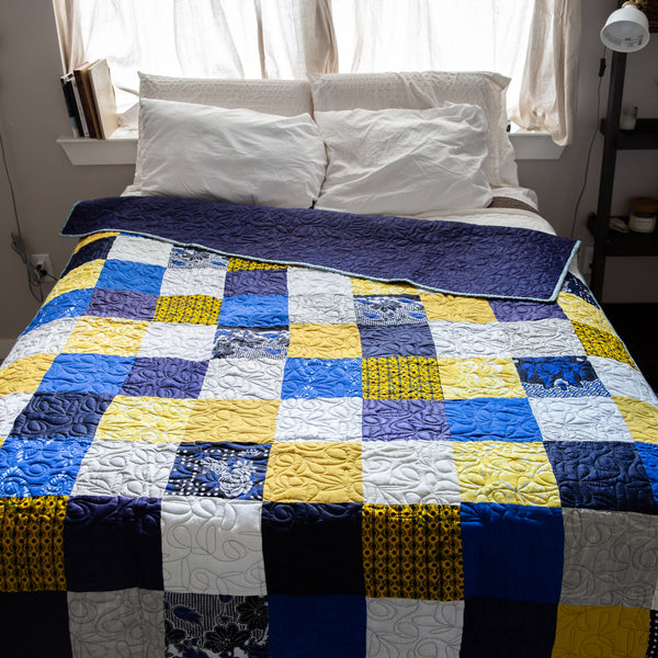 """The Blues"" Patchwork Quilt - Kenyan materials and design for a fair trade boutique"