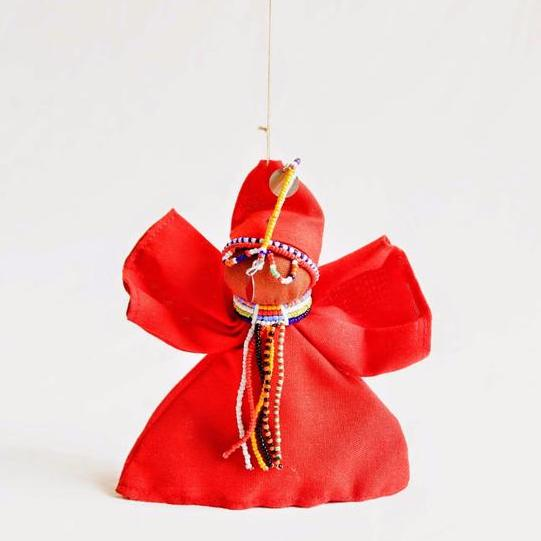 Maasai Peace Angel Ornament - Kenyan materials and design for a fair trade boutique