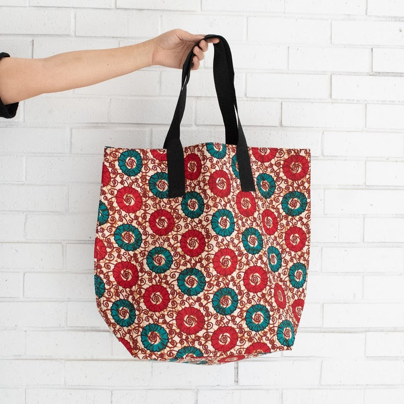 African Market Tote - Kenyan materials and design for a fair trade boutique