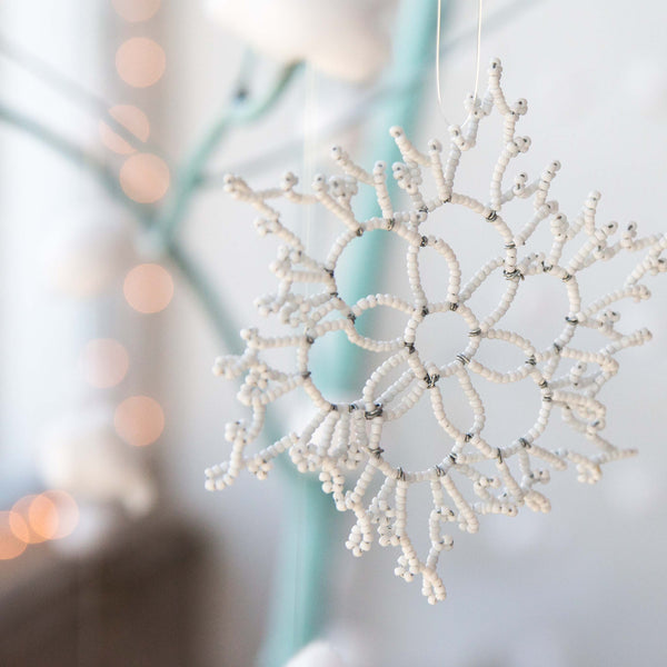 Beaded Snowflake Ornament - Kenyan materials and design for a fair trade boutique