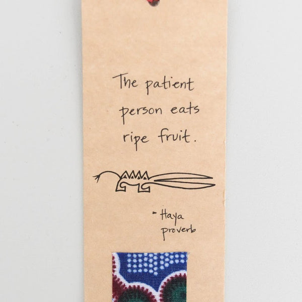 Proverb Bookmark - Kenyan materials and design for a fair trade boutique