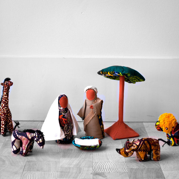 Safari Nativity Set - Kenyan materials and design for a fair trade boutique