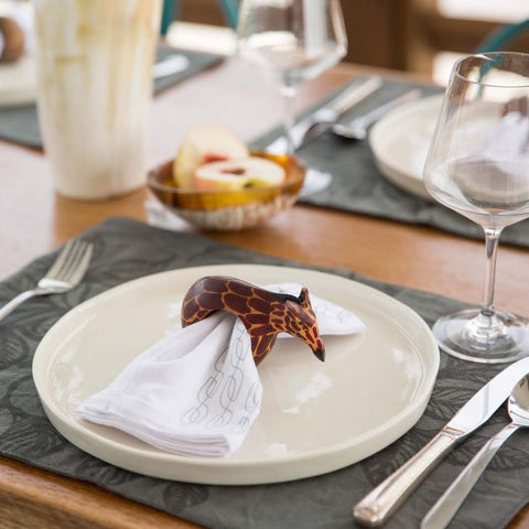 Wooden Animal Napkin Rings Set