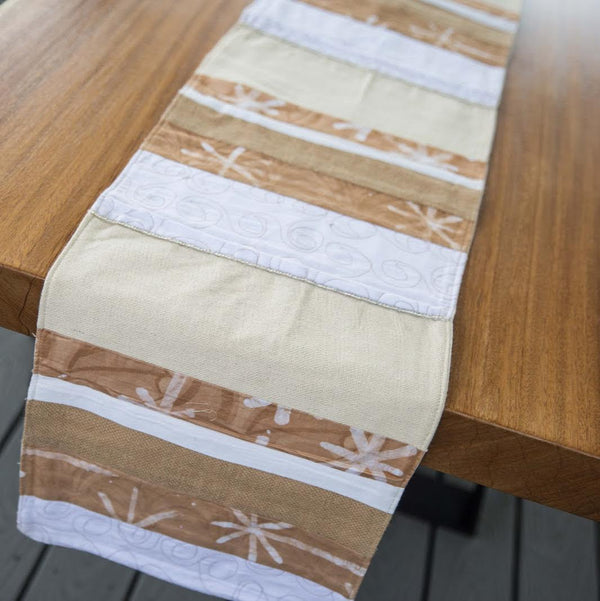 White Traditional Table Runner - Kenyan materials and design for a fair trade boutique