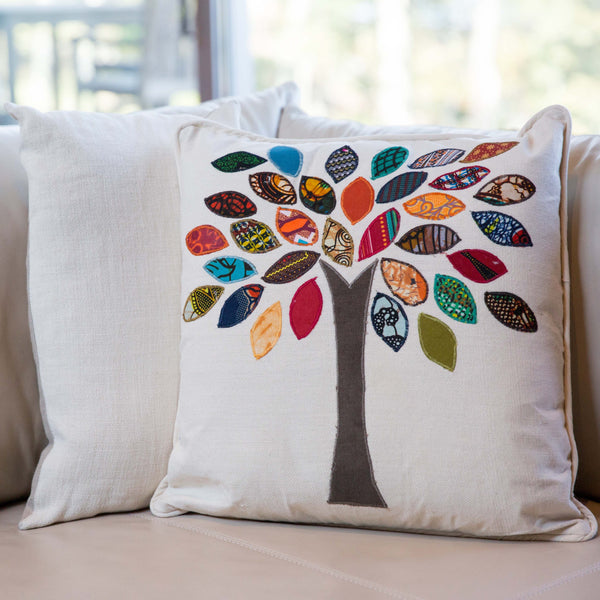 Family Tree Pillow - Kenyan materials and design for a fair trade boutique