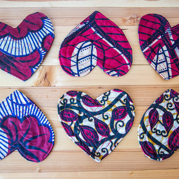 Kitenge Heart Coasters Set - Kenyan materials and design for a fair trade boutique