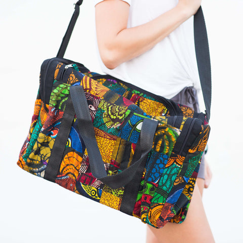 Overnight Patch Tote - Kenyan materials and design for a fair trade boutique