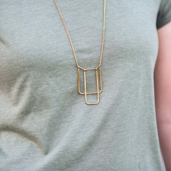 Double U-Frame Necklace - Kenyan materials and design for a fair trade boutique