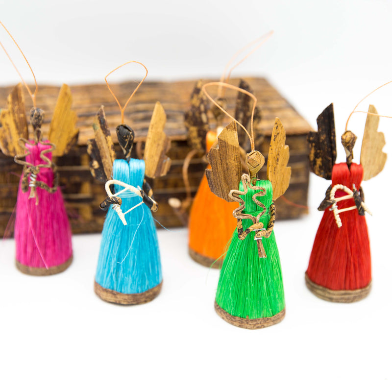 Multicolored Angel Ornament Set - Kenyan materials and design for a fair trade boutique