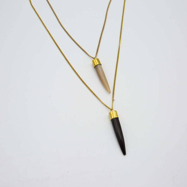 Horn Tooth Pendant Necklace - Kenyan materials and design for a fair trade boutique