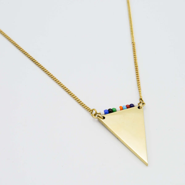 Brass Triangle Pendant Necklace