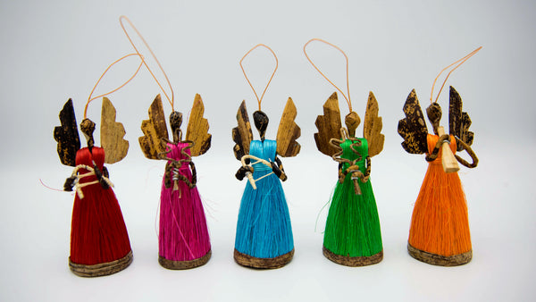 Multicolored Angel Ornament Set