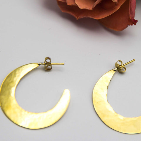 Hammered Brass Disk Earrings