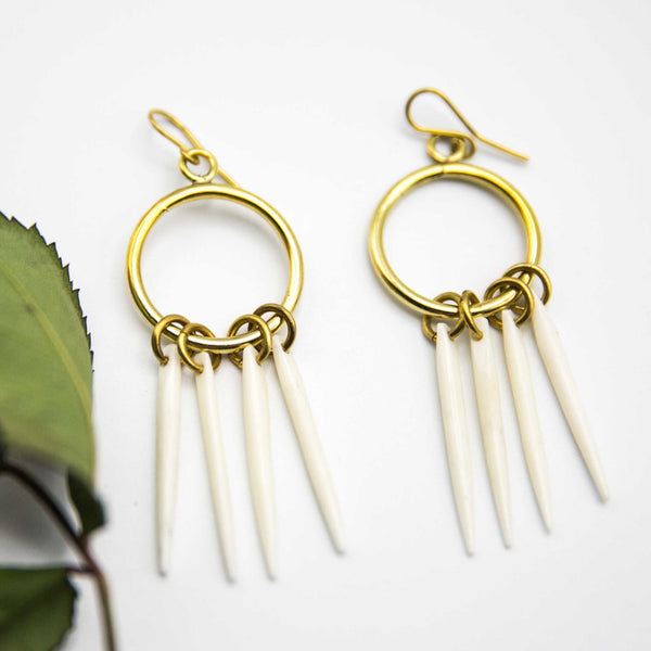 Bone Spear Earrings - Kenyan materials and design for a fair trade boutique