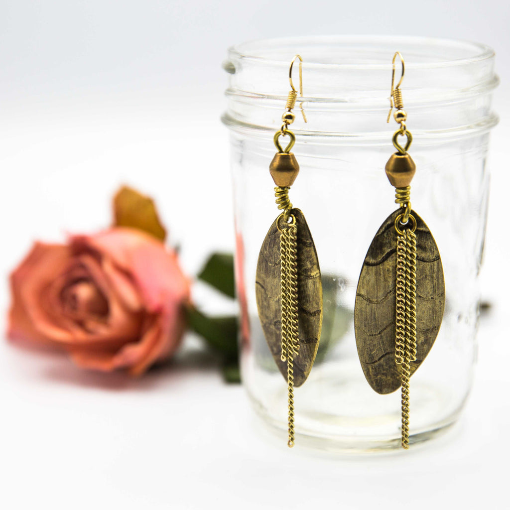 Leaf & Chain Earrings - Kenyan materials and design for a fair trade boutique
