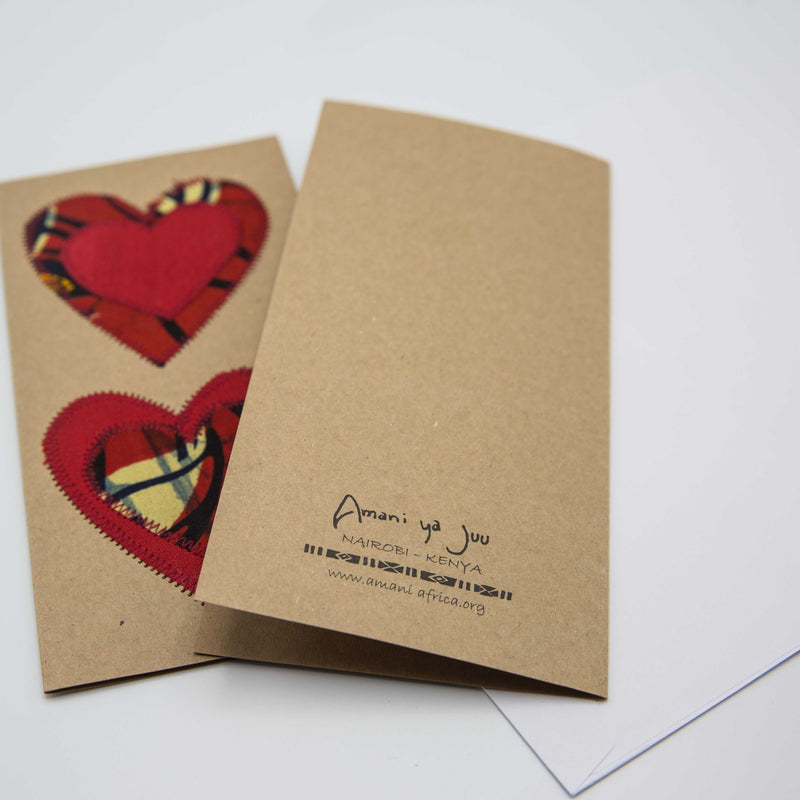Double Heart Card - Kenyan materials and design for a fair trade boutique