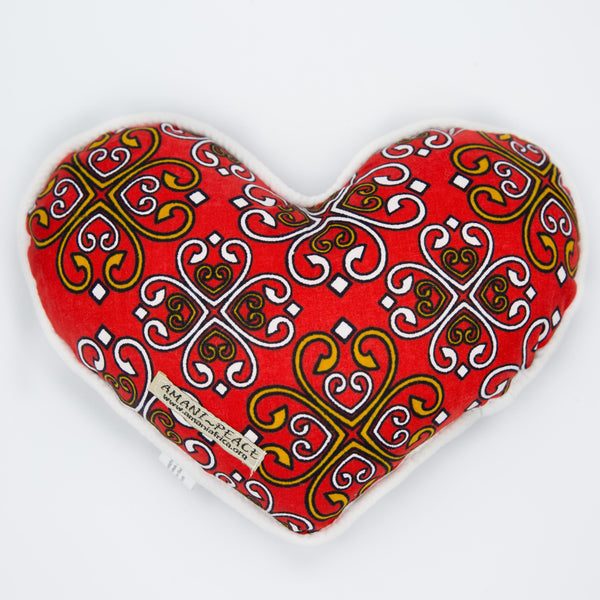 Kanga Heart Pillow - Kenyan materials and design for a fair trade boutique