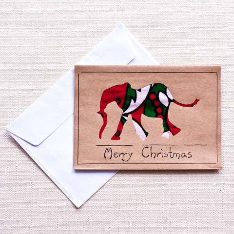 Christmas Elephant Card - Kenyan materials and design for a fair trade boutique