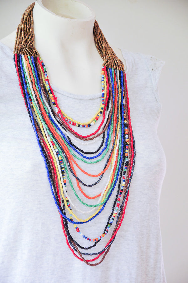 Maasai Multicolor Necklace - Kenyan materials and design for a fair trade boutique
