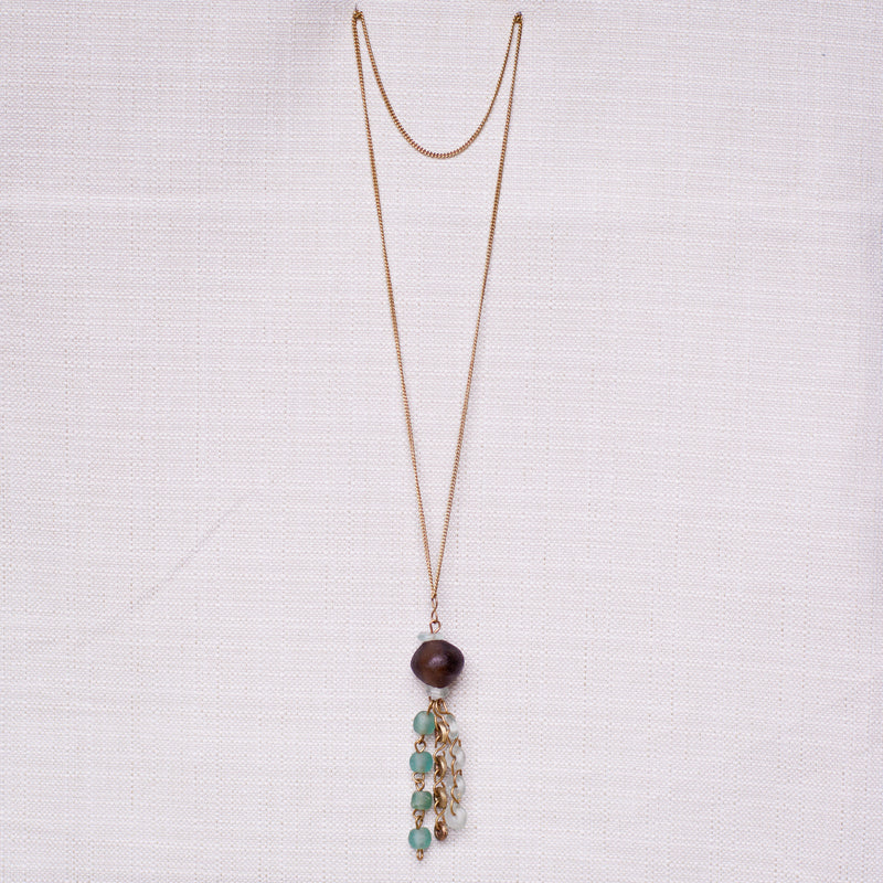 Bottle Bead Pendant Necklace - Kenyan materials and design for a fair trade boutique