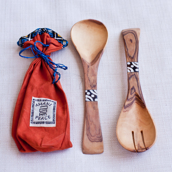 Olivewood & Bone Spoon Set