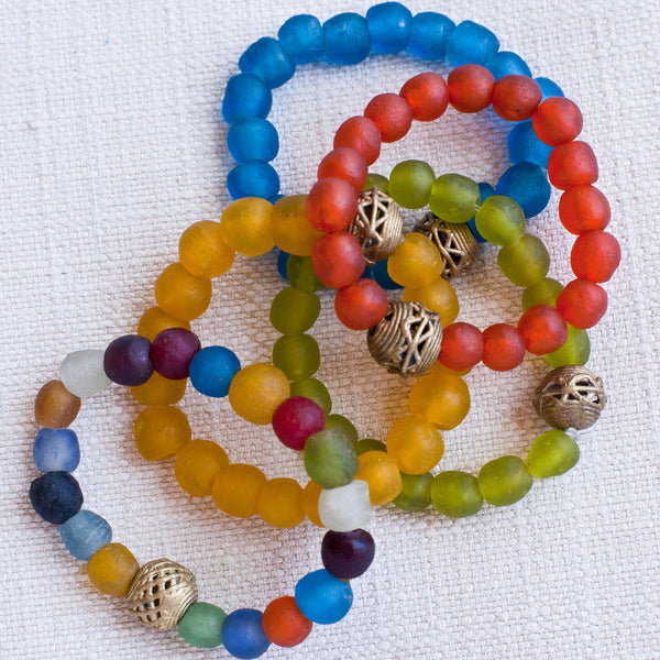 Bottle Bead Brass Bracelet - Kenyan materials and design for a fair trade boutique