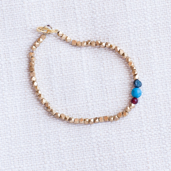 Metallic & Turquoise Bracelet - Kenyan materials and design for a fair trade boutique
