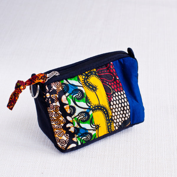 Strip Patch Cosmetic Case - Kenyan materials and design for a fair trade boutique