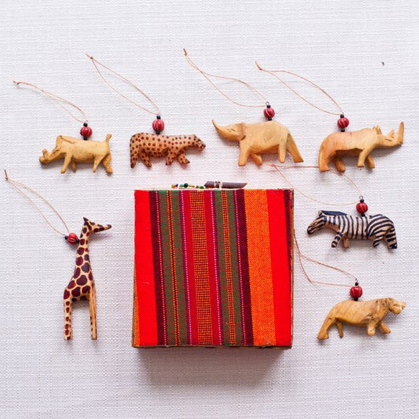 African Animal Ornament Set of 7 - Kenyan materials and design for a fair trade boutique