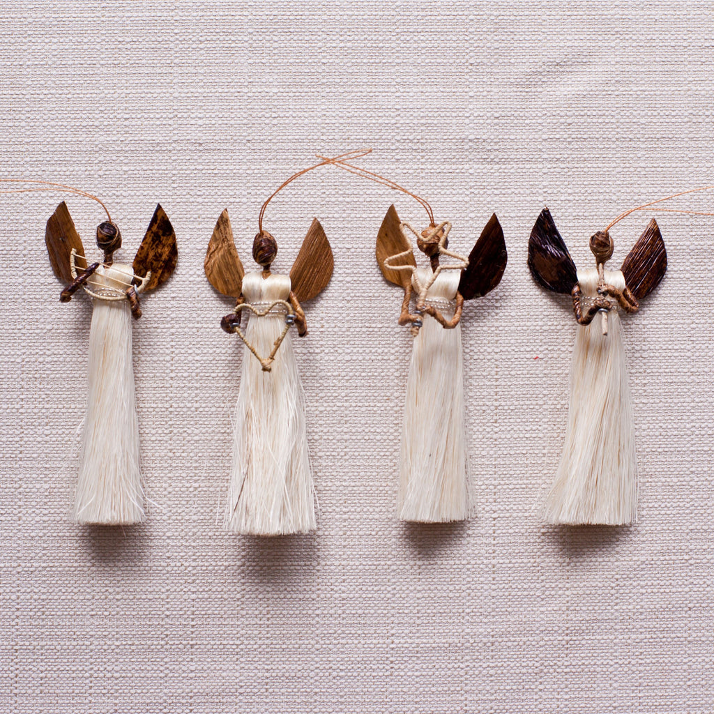 Sisal Angel Ornaments Set