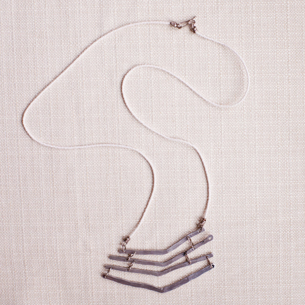 Aluminum Chevron Long Strand Necklace