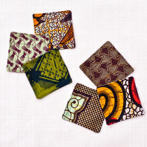 Kitenge Square Coaster Set - Kenyan materials and design for a fair trade boutique