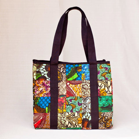 Original Patch Tote - Kenyan materials and design for a fair trade boutique