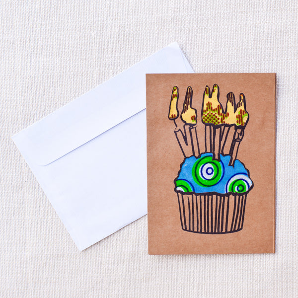 Happy Birthday Cupcake Card - Kenyan materials and design for a fair trade boutique