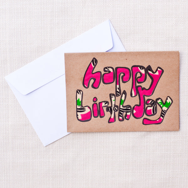 Happy Birthday Card - Kenyan materials and design for a fair trade boutique